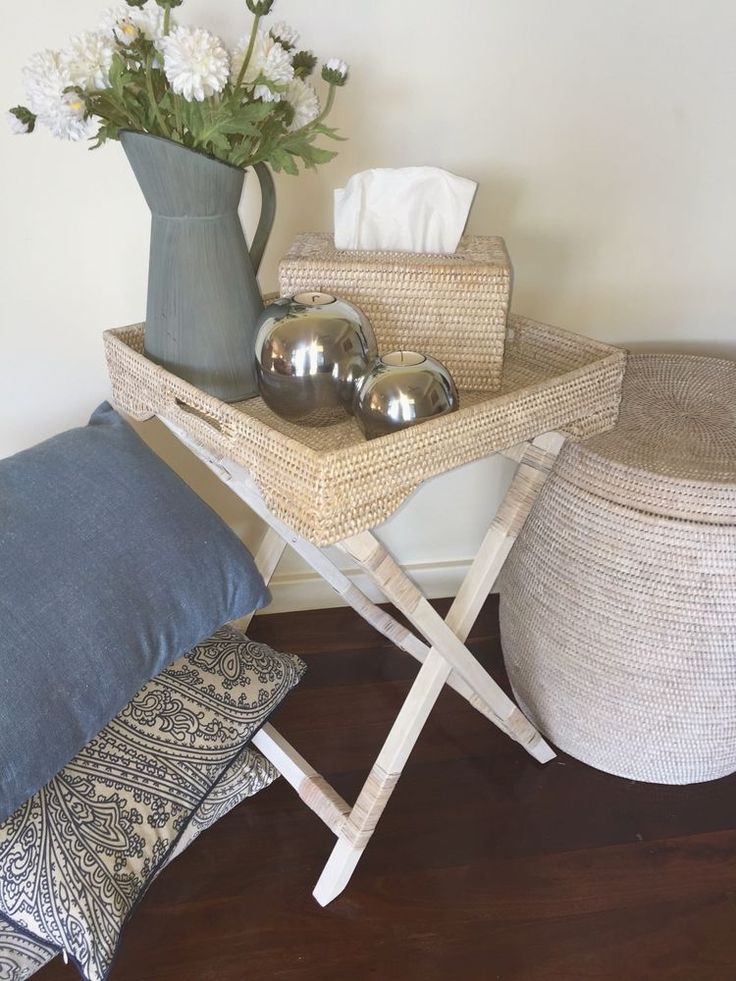 SQUARE Rattan Butlers Tray/Side Table/Bedside Table ...