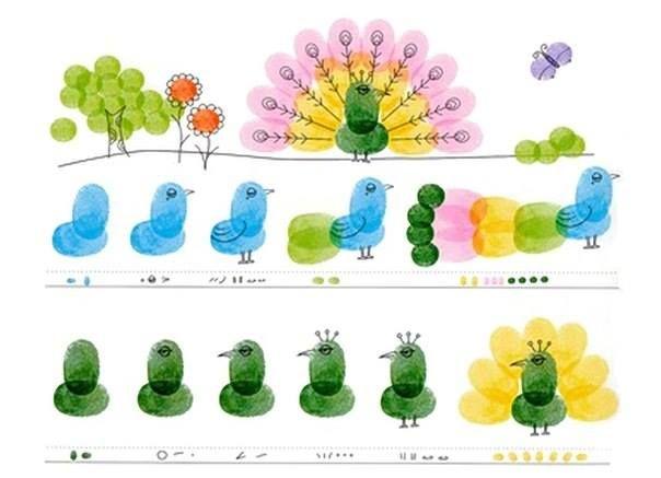 как рисовать отпечатками пальцев - идеи для детского творчества 7