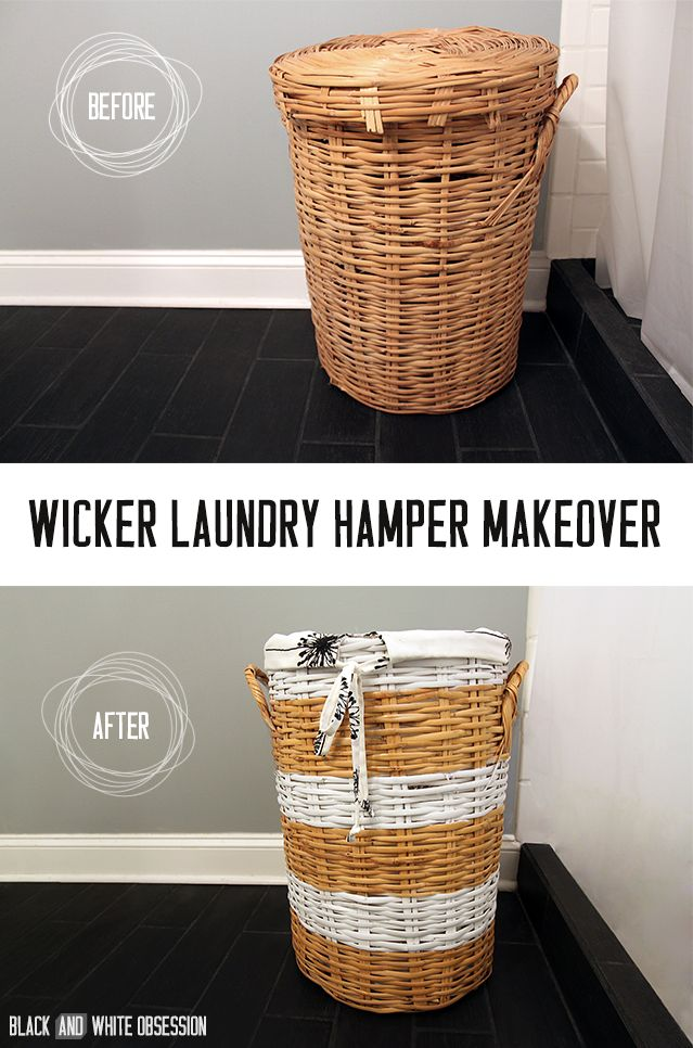 Wicker Laundry Hamper Makeover Before and After #sponsored @OnlineFabricStore | www.blackandwhiteobsession.com