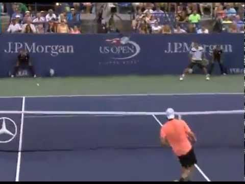 ▶ Tommy Haas Hits Tweener at the Net and Wins Amazing Point against Youzhy at 2013 US Open - YouTube