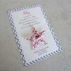 Faire part de naissance - baptême - carte de remerciement étoile en origami pour fille fleurs - liberty - chevron