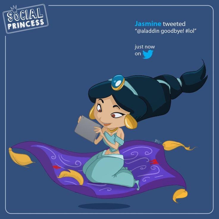 "Jasmine tweeted ""@aladdin goodbye! #lol"", just now on @twitter"
