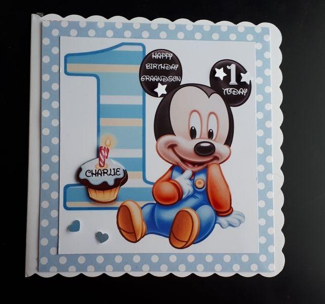 1st Birthday Card Mickey Mouse Boy Son Nephew Grandson Brother 1st Birthday Cards Kids Birthday Cards Card Making Birthday
