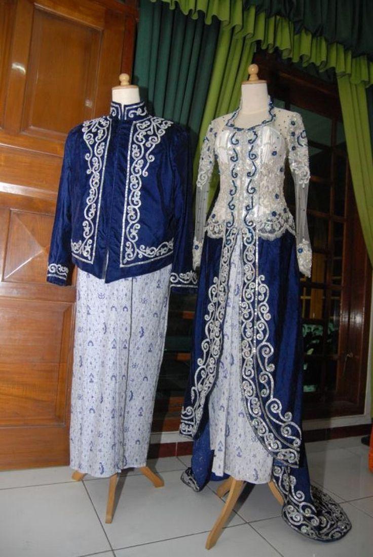 White and Sapphire velvet Modern Kebaya