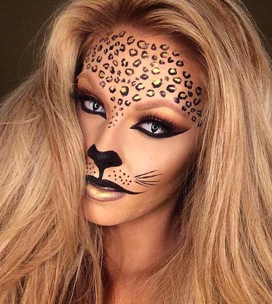 Black and Gold Cheetah Halloween Makeup