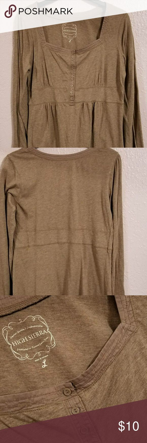High Sierra Women blouse - Top, Brown, Long sleeve High Sierra Women Blouse (new without tags)   Size : Large  Sleeve: Long , 25 inches  Length: 27.5 inches  Armpit to Armpit: 18.5 inches  Waist : 17.5 inches  Fabric material: 100% Cotton High Sierra Tops Tees - Long Sleeve