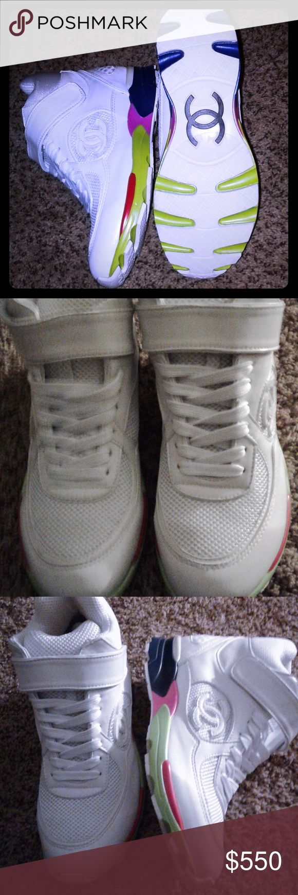 Chanel White tennis shoes. Size: 38(8). New Chanel Tennis Shoes. White. New, don't have a box. Last one. CHANEL Shoes Sneakers