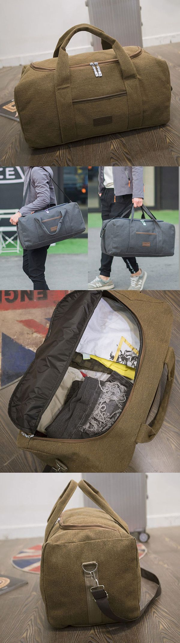 $16.39  40L Big Capacity Travel Crossbody Bag, Outdoor Dual-use Canvas Handbag For Men,Travel Bags For Men, Men's Travel Bags