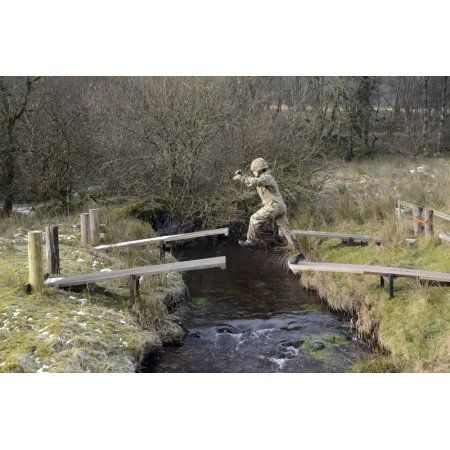 Welsh Guards perform basic training on the assault course at Sennybridge Training Area Canvas Art - Andrew ChittockStocktrek Images (18 x 12)