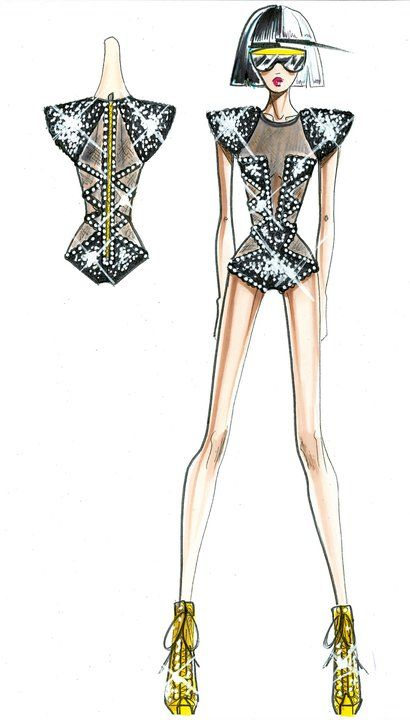 Versace Sketches For Lady Gaga Figurines De Moda Pinterest Lady Lady Gaga Tour And Versace