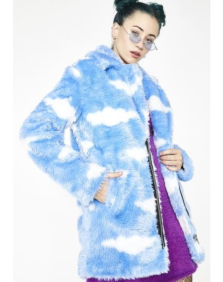 b9674a2031a0 Daydream Delirium Faux Fur Jacket #dollskill #currentmood #cybermonday #Y2k  #raver #sky #clouds #faux #fur