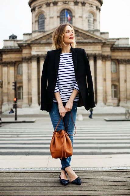 Navy blazer/jacket, jeans, striped top, cognac purse, flats