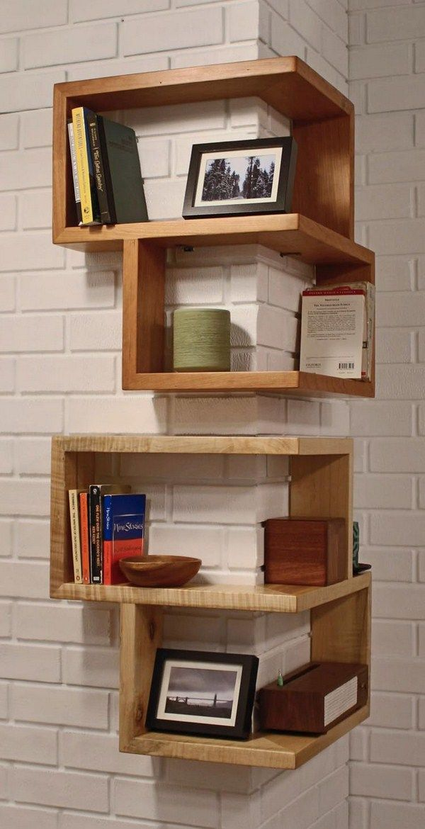 shelving corner around construction wooden books wall design white masonry