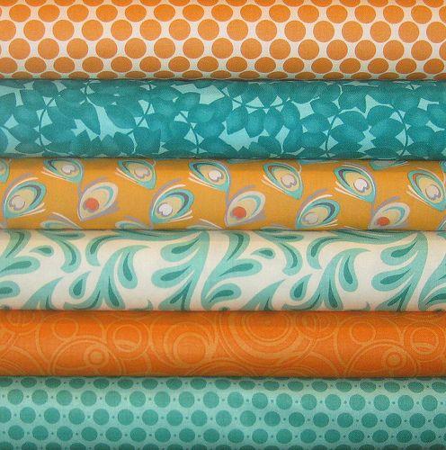 Aqua and orange, love the polka dot fabric