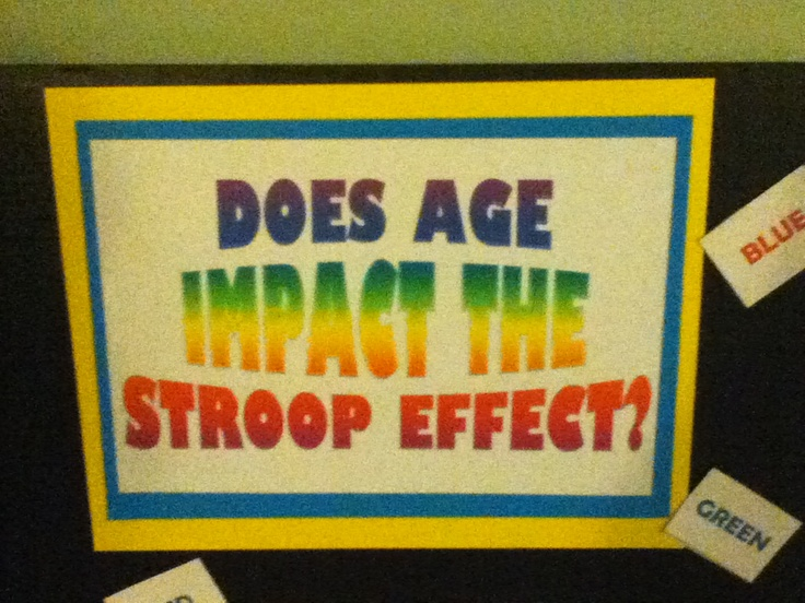 This is my science project 4 school. Look online to find out what the stroop effect is. Answer: yes age does impact the stroop effect