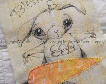 GRANDE originale penna inchiostro su tessuto illustrazione Quilt etichetta Applique da Michelle Palmer primavera primavera Pasqua coniglio uccelli dello Sparrow Beato