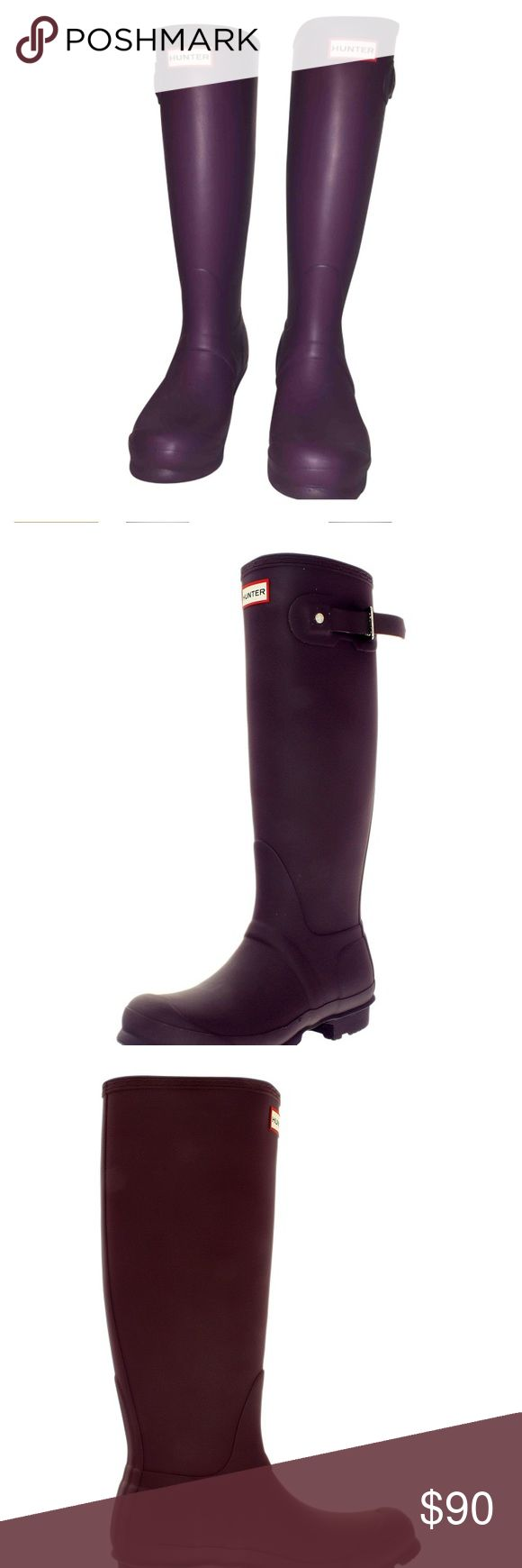 Hunter Original Tall Wellington- Aubergine Matte >> Aubergine Matte<< Completely waterproof exterior, dark purple, Hunter Tall Original boots —Measurements— Heel Height 1 1/4in Weight 1 lb 8 oz Circumference 15in Shaft 15 1/2in  ((Hunter size 36, I wear a 6/6.5 in other shoes)) Hunter Boots Shoes Winter & Rain Boots