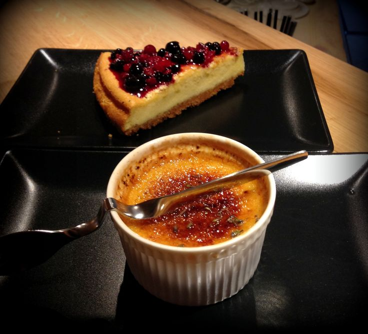 Lavander creme Brulle or Cheesecake with wild berries sauce ?Which one is your favourite?