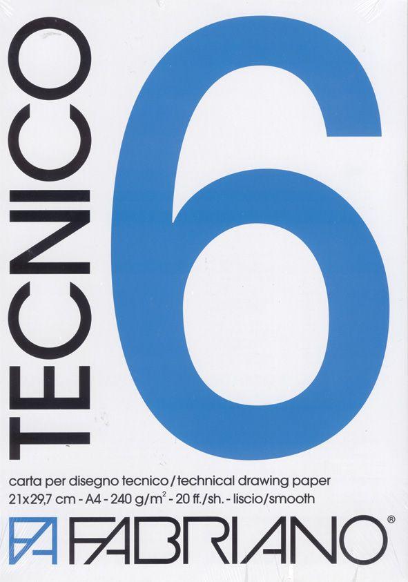 Tykke ark fra Fabriano i 240 g/m2.A4-størrelse – 20 ark.  Blokk med 240 g teknisk tegnepapir. Syrefritt papir som inneholder bomull. Den glatte overflaten er ideell for blyant, flytende bl…