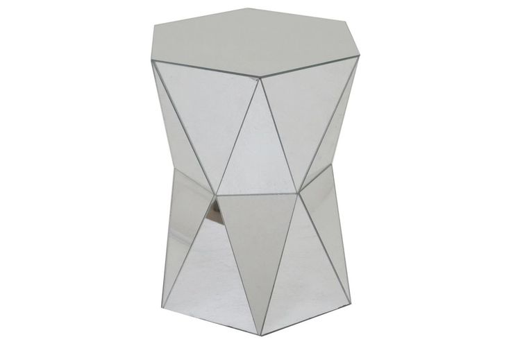 """Hexagon Mirrored Accent Table, Dimensions: 13""""W x 14.8""""D x 17.8""""H"""