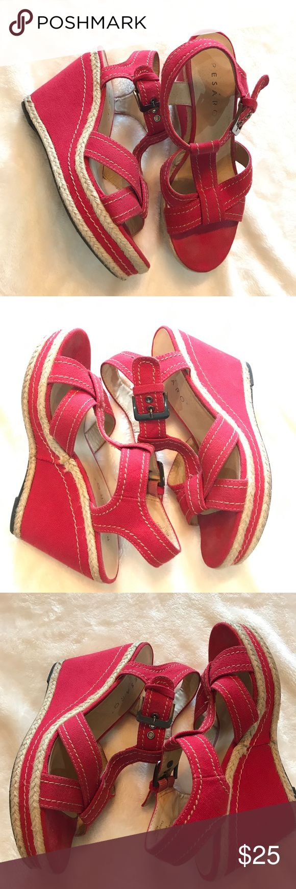 Hot pink wedges Great used conditions, very comfortable PESARO Shoes Wedges