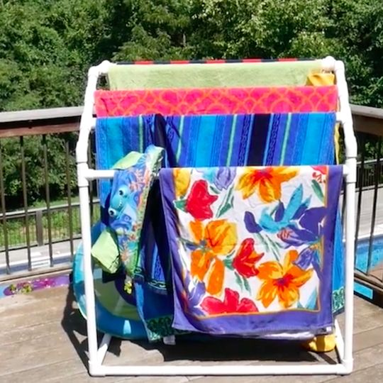 Build this handy towel rack from ordinary PVC plumber's pipe. The rack can hold eight full-size beach towels, and, as a bonus, it corrals all the pool noodles and floaties.