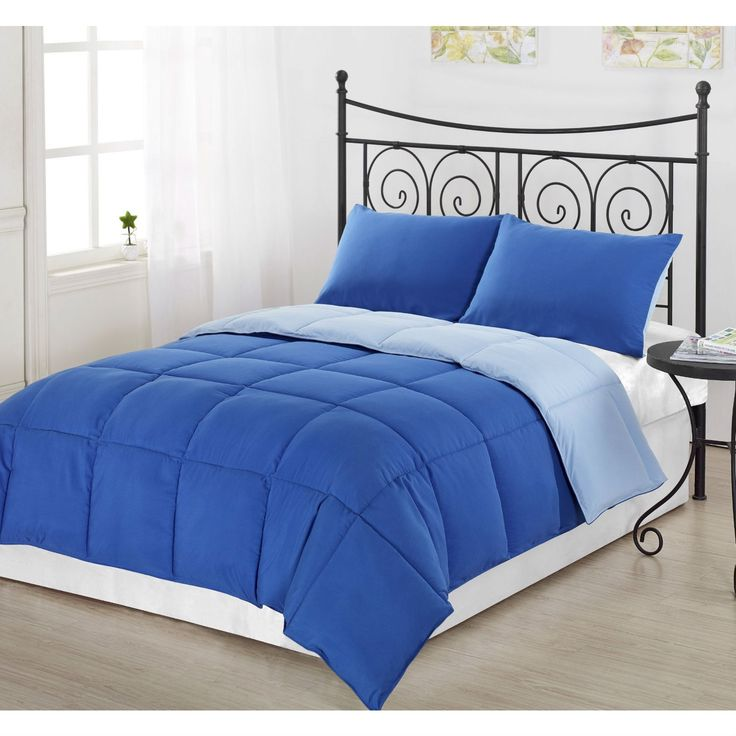 King/Cal King Size 3 Piece Light Blue/Royal Blue Microfiber Comforter Set With 2 Shams