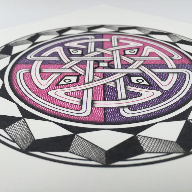 """Celtic Man-Dala no.4"" (detail), ink and pencil on paper, 15cm diameter"