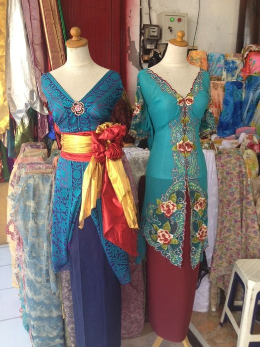 "Beauty on display: Traditional ""kebaya"" blouses in silk and cotton with embroideries on display at one of the shops in Jalan Sulawesi, Denspasar, Bali, renowned for its offerings of traditional attire and textiles. #Denpasar #Bail #kebaya"