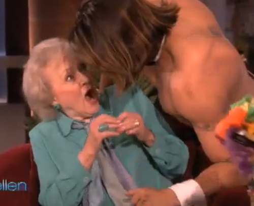 Betty White Porn Captions - betty white as she notices the male striper dancing for her
