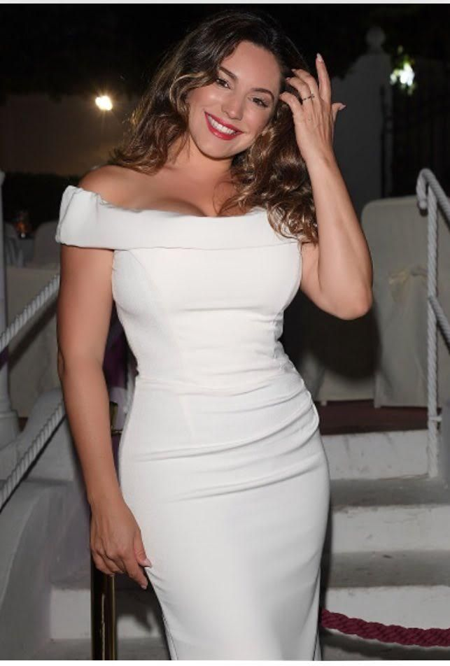 Actress and Style Icon Kelly Brook in our Thea Cream Dress