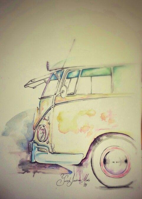 VW Camper - color Volkswagen Por: Yerard Jimenez Marte, paint, pintura, acuarela, whatercolor, art, arte, artista, pincel