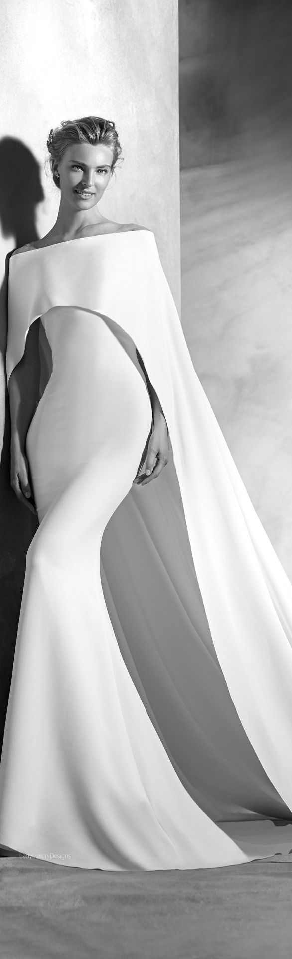 White gown with cape