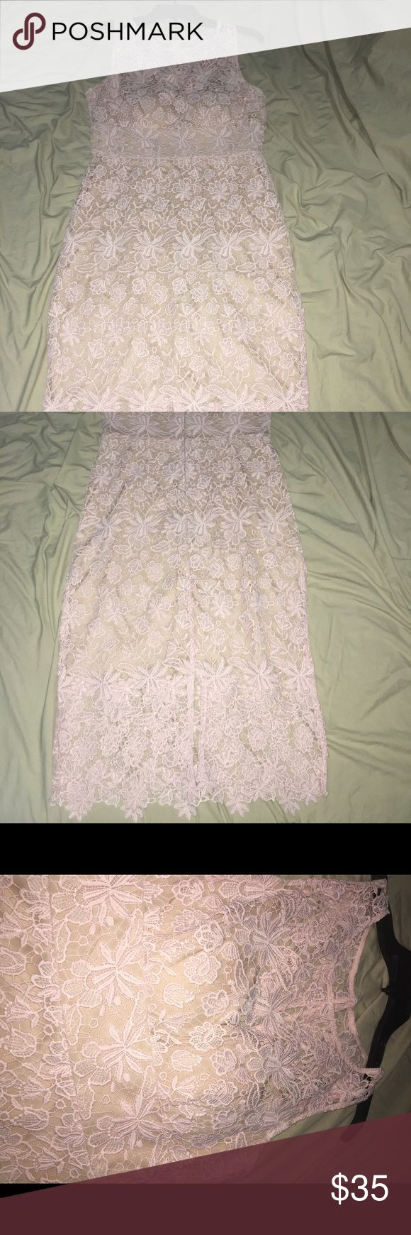 Blush lace dress This is such a beautiful dress that is form fitting and has an nude underlining on with beautiful lace that makes the dress! Bisou Bisou Dresses Midi