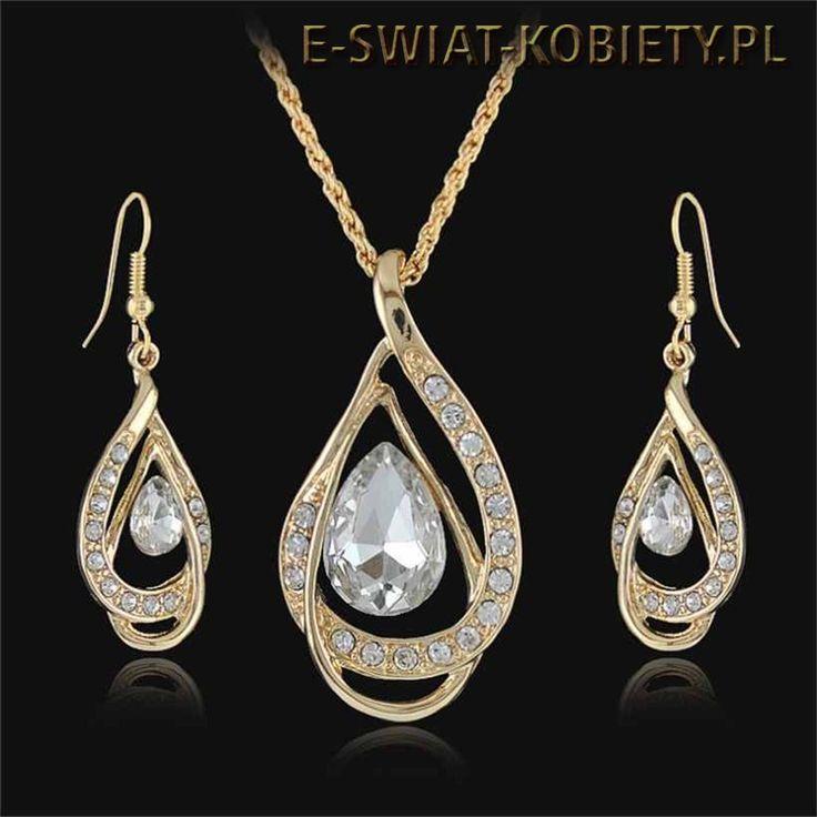 piękny naszyjnik, kolczyki, kryształy Swarovski Grajewo, Wisart, sztuczna biżuteria