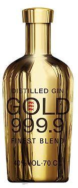 Gin Gold 999,9. France. Botannicals: juniper, tangerine, violet flowers, ginger, coriander,...