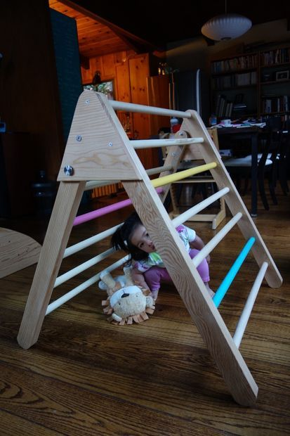 Toddler With Baby How To Make A Foldable Pikler Triangle Climbing Frame