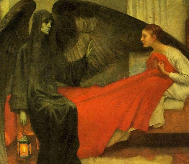 """El ángel de la muerte y la joven (""""La jeune fille et la mort""""). Marianne Stokes. 1900. Localización: Museo d'Orsay (París). https://painthealth.wordpress.com/2016/01/19/la-muerte-y-la-doncella/"""