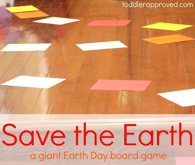 Save the Earth-a giant Earth Day board game. A fun way to celebrate Earth Day and learn about taking care of the Earth!