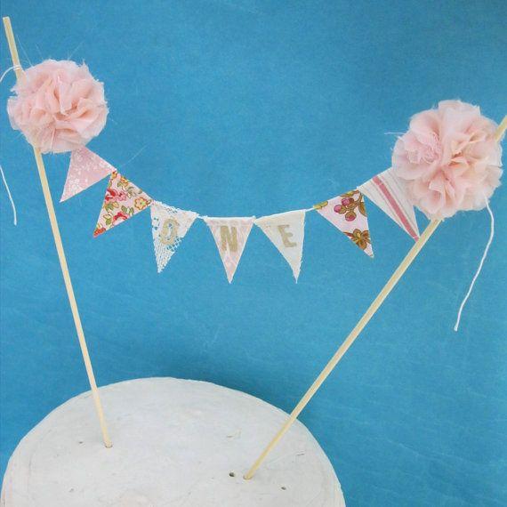 """Pink Garden Party cake banner, Pink smash cake banner, pink birthday, """"ONE"""" J094- birthday cake banner topper"""