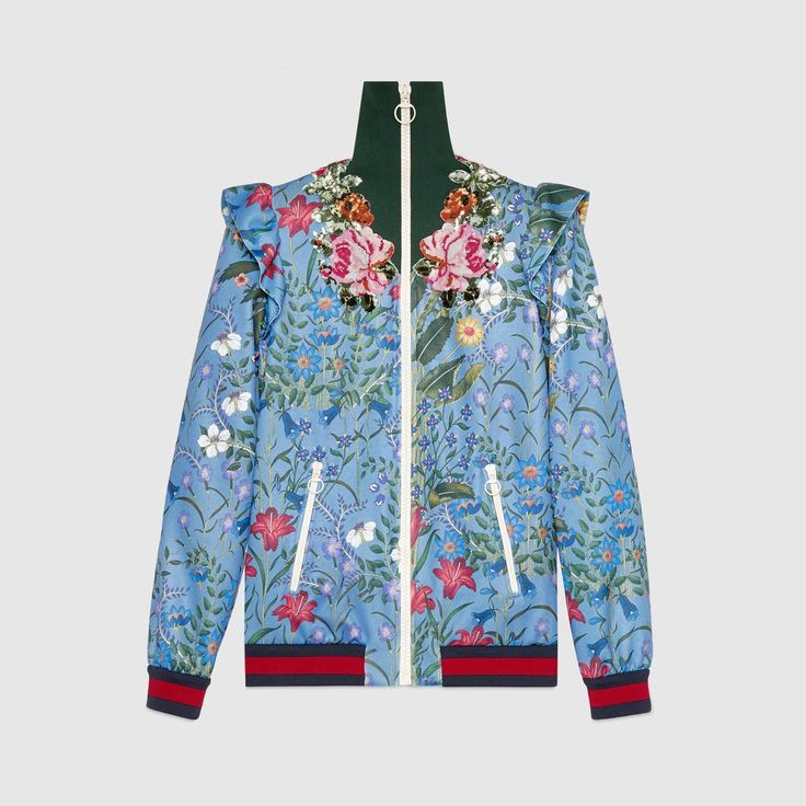 GUCCI Embroidered New Flora Print Jersey Jacket - New Flora Print Technical Jersey. #gucci #cloth #all