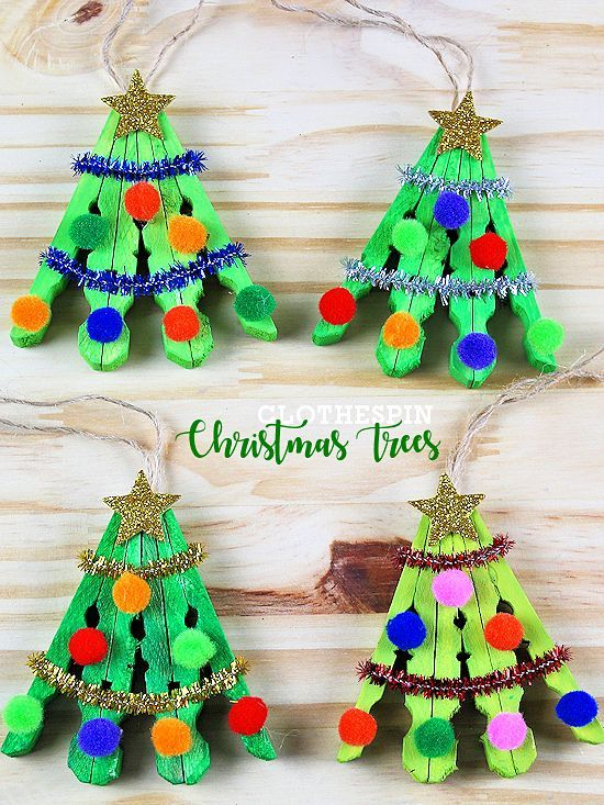 Clothespin Christmas Tree Craft Kids Craft Basteln