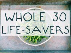 Whole 30 life-savers: tea, coffee with cinnamon, carrot sticks, Lara bars, Applegate hot dogs, rotisserie chicken, egg cups