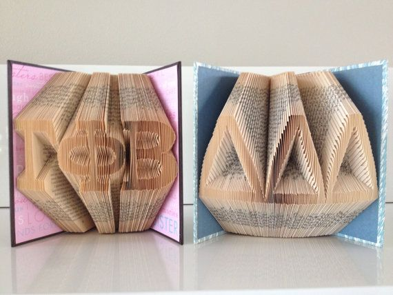 Customized Folded Book Sculpture - Greek Letters - Sorority and Fraternity Gift