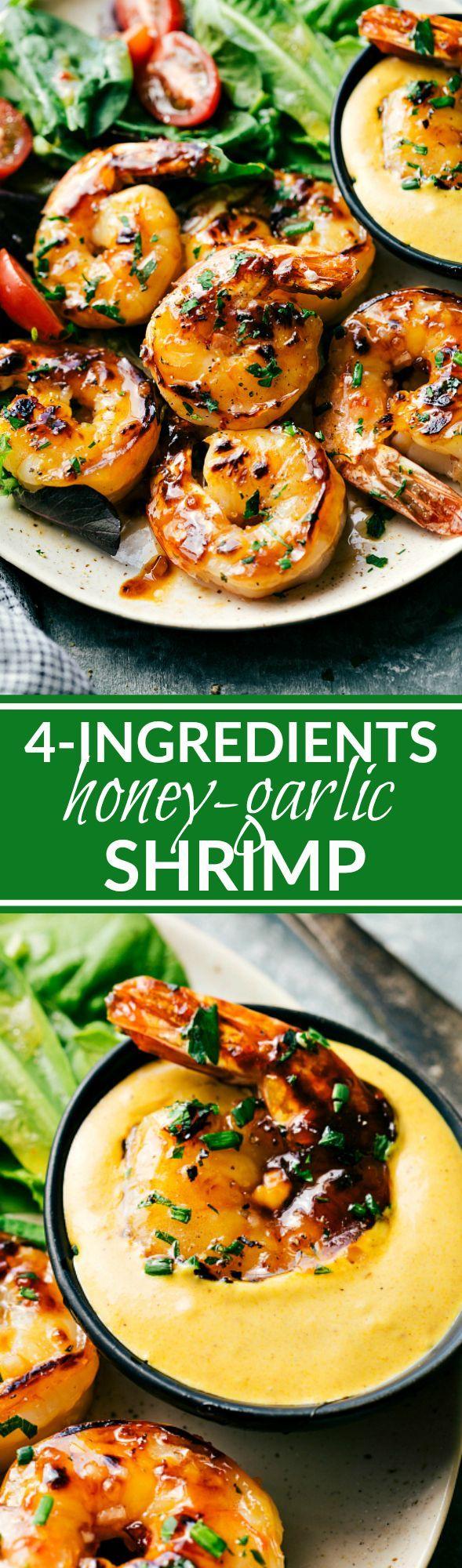SWEET HONEY GARLIC SHRIMP! The easiest shrimp dish! Only three ingredients…
