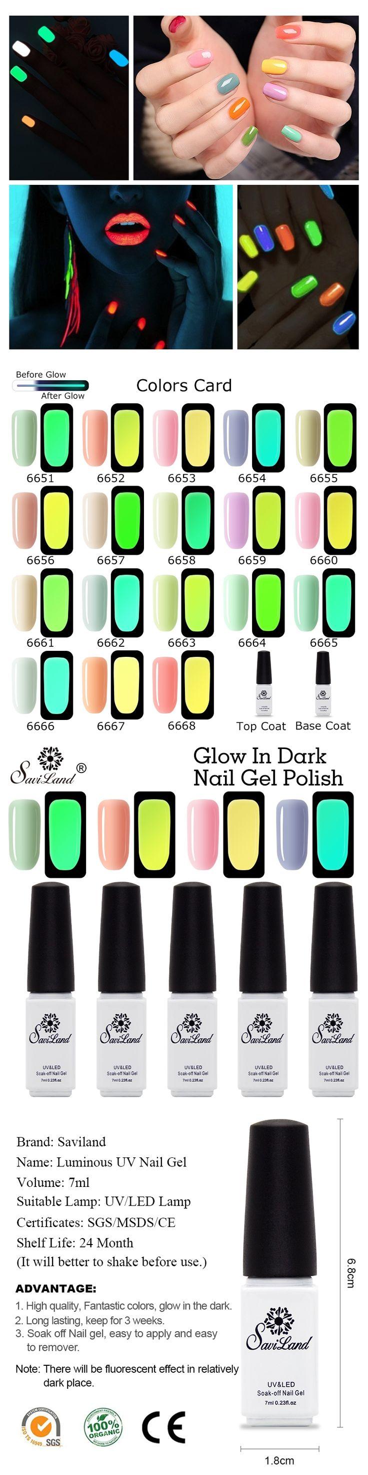 Saviland The Dark Luminous Fluorescent Nail Art Polish Soak Off UV/LED Gel Night Glow In Dark Lacquer Manicure Tools