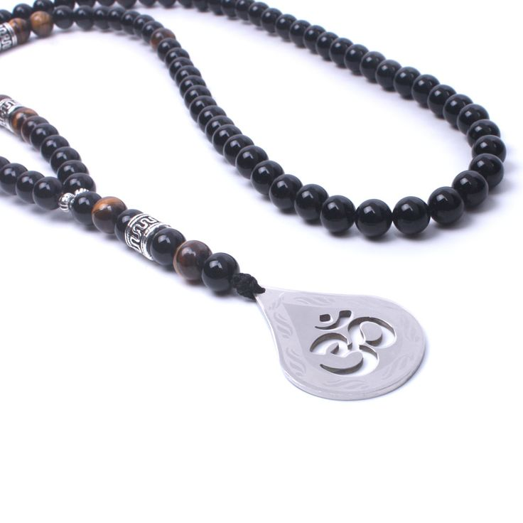 Natural stone onyx Tiger eye stone Beaded Women Men necklace stainless steel OM Pendant long necklace. Click visit to buy #PendantNeklace