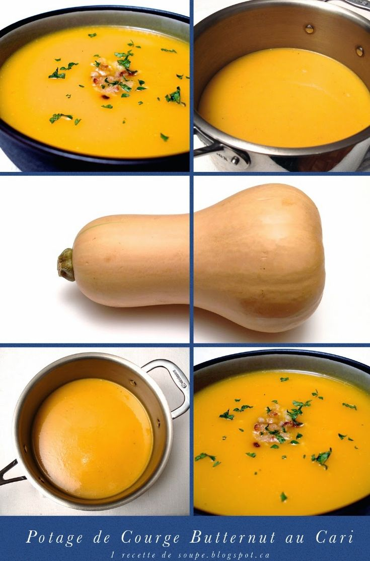 1 recette de soupe: Potage de Courge Butternut (Musquée) au Cari