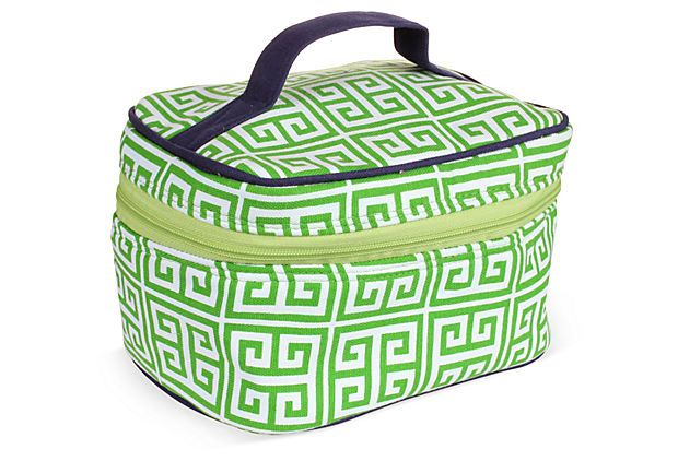 Greek Key Train Case, Green on OneKingsLane.com