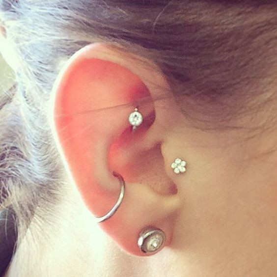 Crystal Flower Tragus Piercing - Cute Ear Piercing Ideas - Cartilage, Rook, Conch, Triple Forward Helix  at MyBodiArt.com